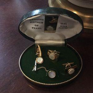 Vtg 18k pearl money clip tie tack/clasp cufflinks